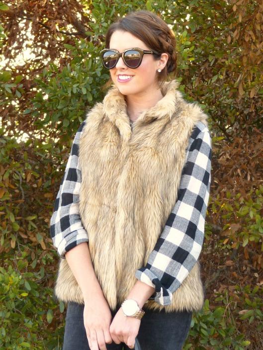 fall, glam, boho, plaid, faux fur, braids, berry lip